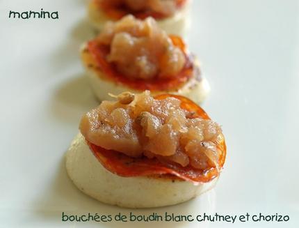Bouchées de Boudin Blanc au Chorizo & Confit d'Oignons