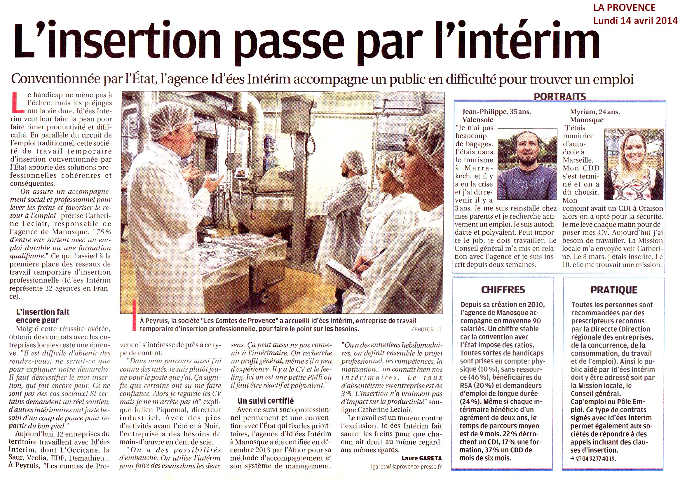 Article paru dans le journal La Provence du 14 avril 2014.
